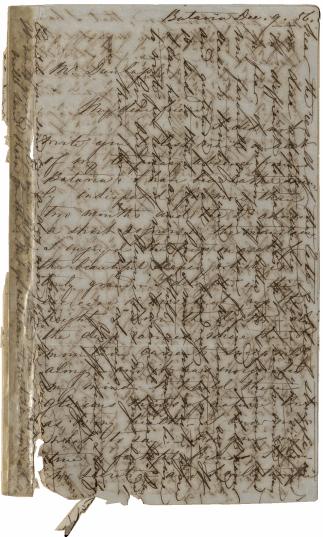 1ste bladzijde brief 9 december 1856 (John G. and Beatrice A. Dunlap family correspondence, Louisiana Research Collection, Tulane University, hierna LaRC)