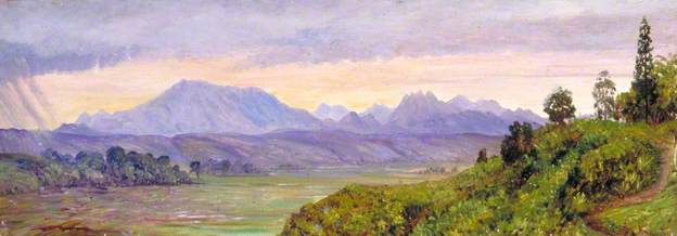 Marianne North: 'The Preanger Mountains', Painting 803, oil on canvas, ca 1876, adopted by Dr & Mrs F Ames-Lewis (Marianne North Gallery http://www.kew.org/mng/gallery/803.html )