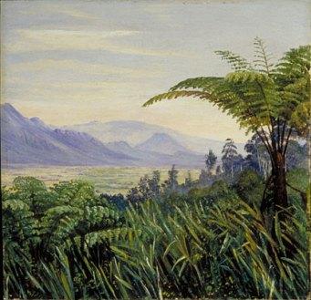 """Marianne North: """"Tree Fern in the Preanger Mountains, Java"""", Painting 704. Olie op doek, afgebeeld: boomvarens. (Marianne North Gallery http://www.kew.org/mng/gallery/704.html )"""