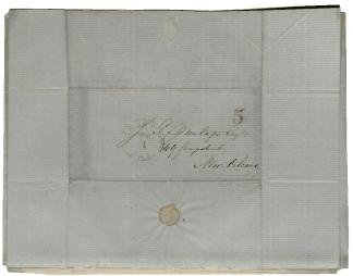 Adres van een brief (10 januari 1855) van Berthe uit GaAdres van een brief (10 januari 1855) van Berthe uit Galveston, Texas aan Dunlap in New Orleans, Louisiana (© LaRC, Tulane University)