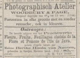 Java Bode 1863, met een advertentie van Woodbury & Page boven een annonce van de tweede druk van Berthes Java-boek (verkoopprijs fl 85,- of ca € 850,-).